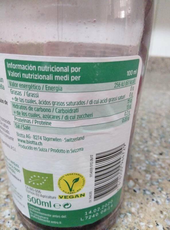 Mirtillo negro - Nutrition facts - es