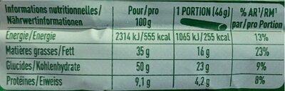 Cailler - originale - Informazioni nutrizionali - fr