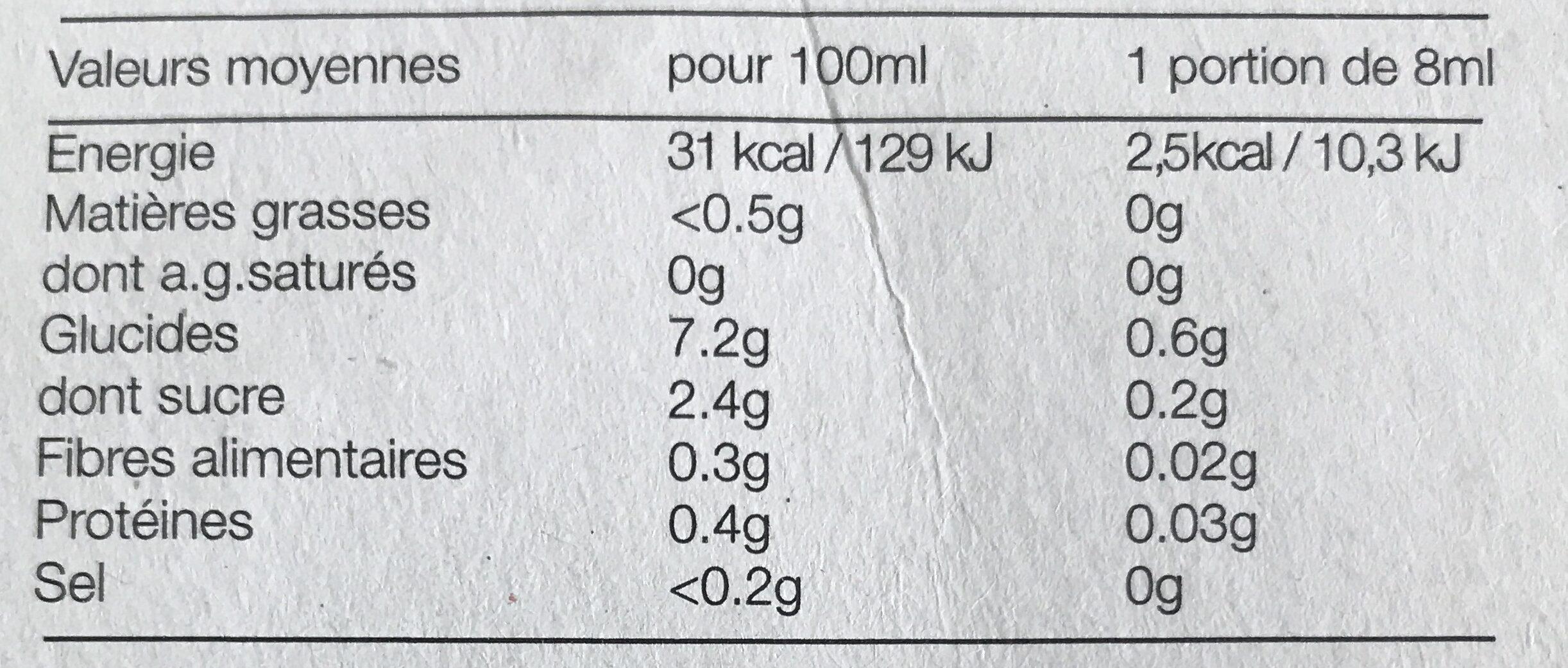 Jus de citron de Sicile - Nutrition facts - fr