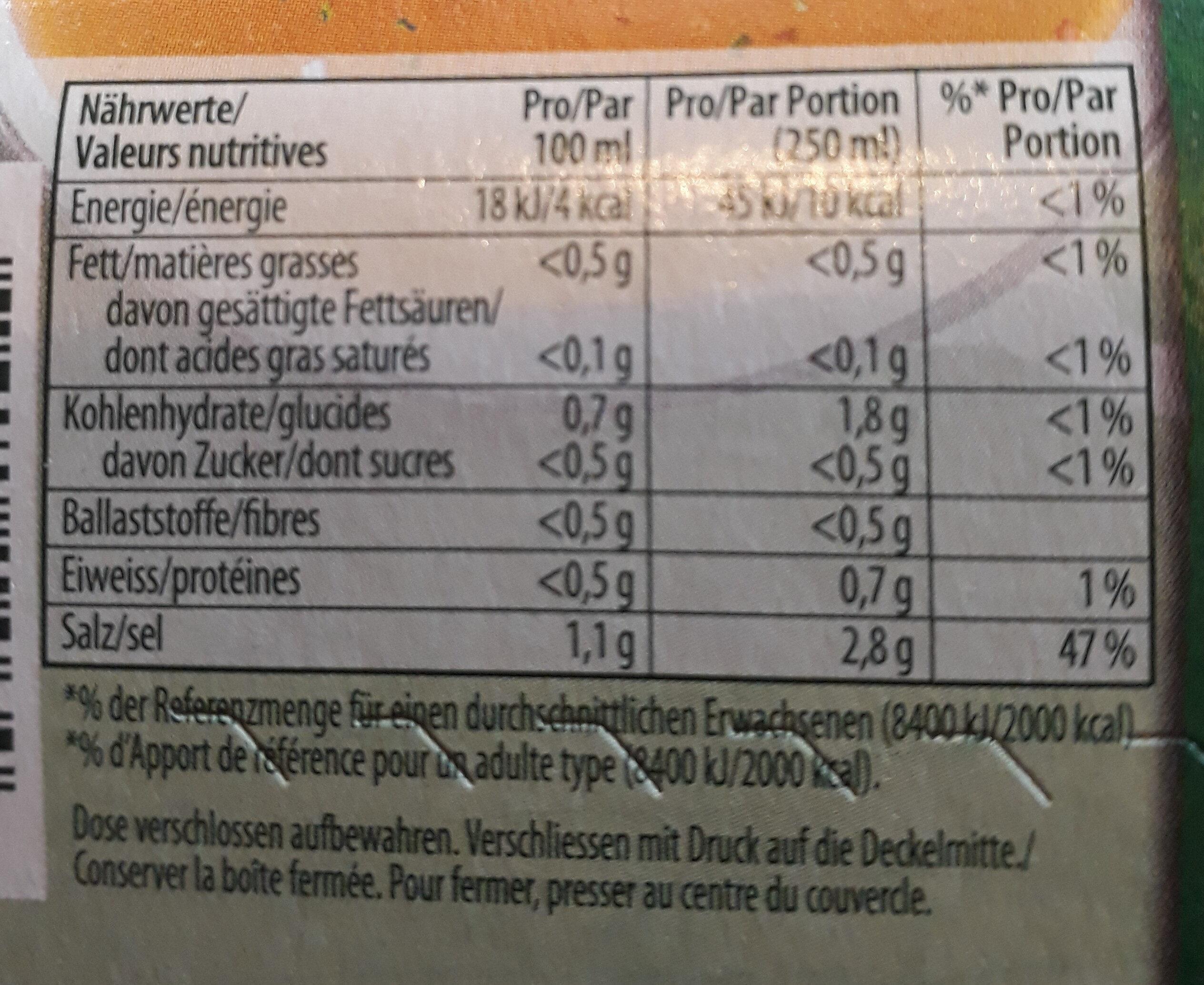 Fond De Légumes Granulé - Informazioni nutrizionali - fr