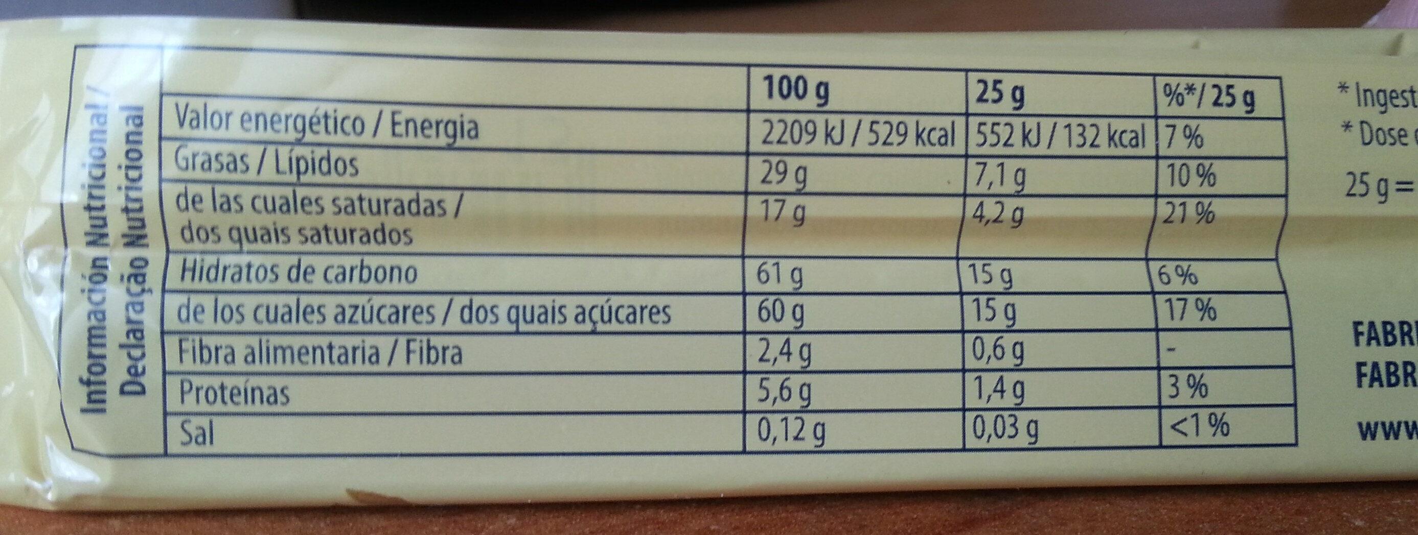 Toblerone - Información nutricional - es