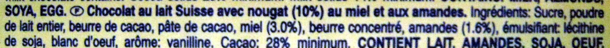 Toblerone (lot de 3 x 50 g) - Ingrediënten
