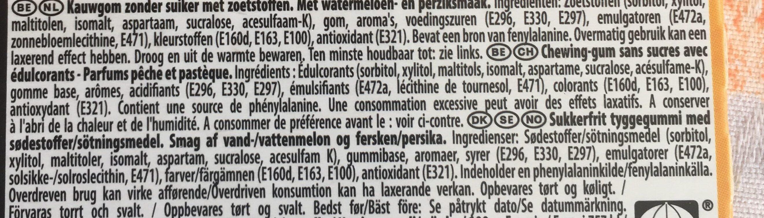 Max Peach Watermelon Kaugummi - Ingrediënten - fr