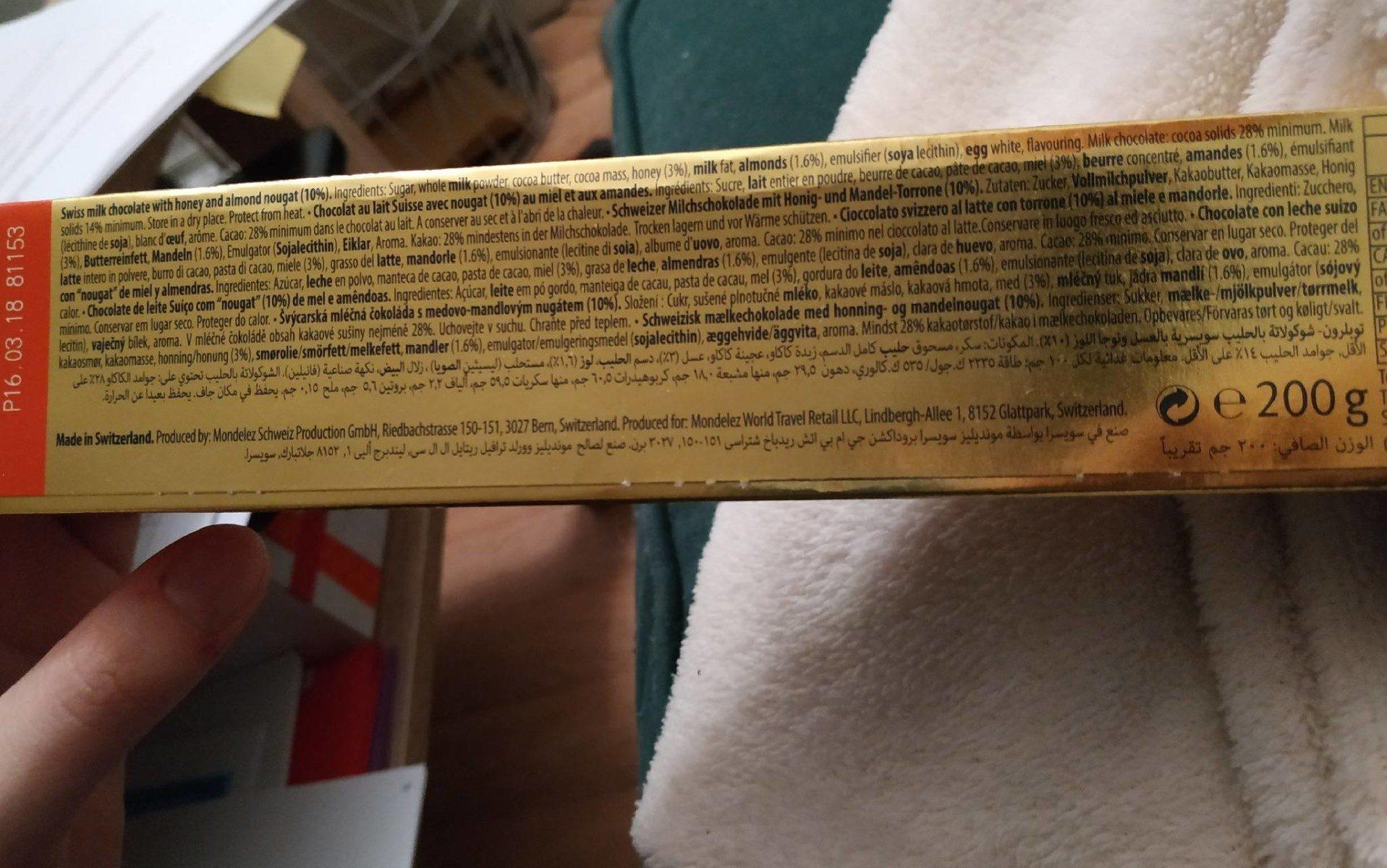 Toblerone - Ingredients - fr
