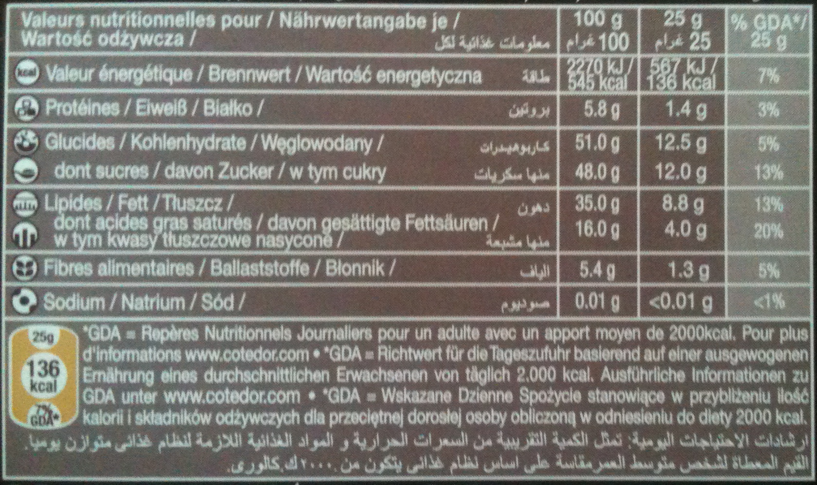 Praliné Intense - Nutrition facts