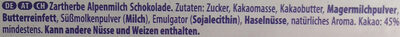 Milka Zartherb 100G - Ingredients