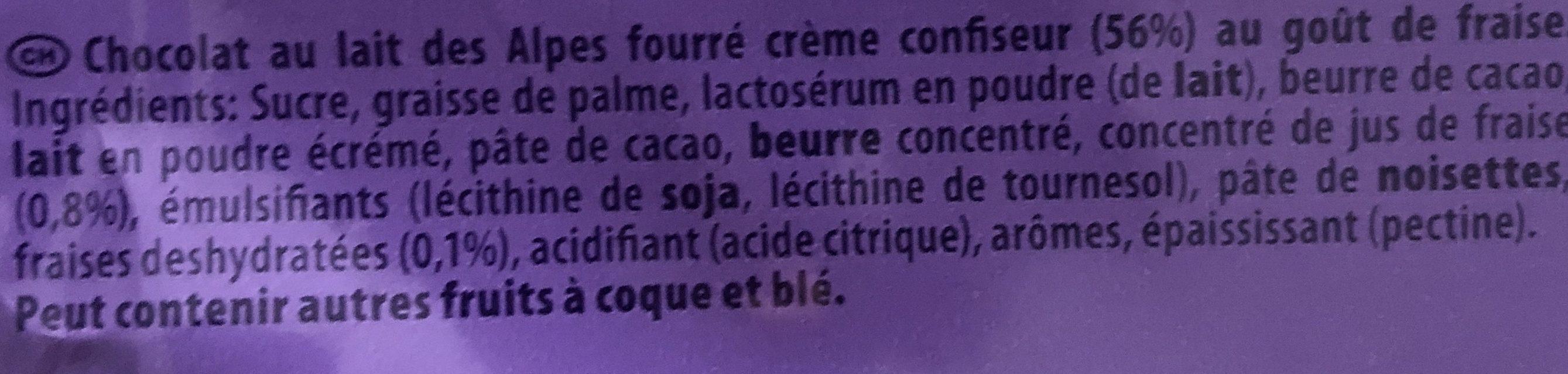 Kraft Foods Milka Alpesi Tejcsokol?d? - Epres Joghurtos 300 g - Ingrediënten