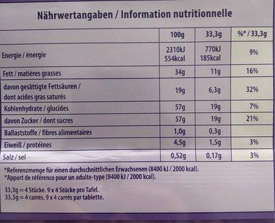 Kraft Foods Milka Alpesi Tejcsokol?d? - Epres Joghurtos 300 g - Voedingswaarden