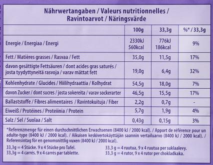 Milka Schoko & Keks - Nährwertangaben
