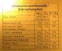 Toblerone Gold 750G - Informazioni nutrizionali - fr