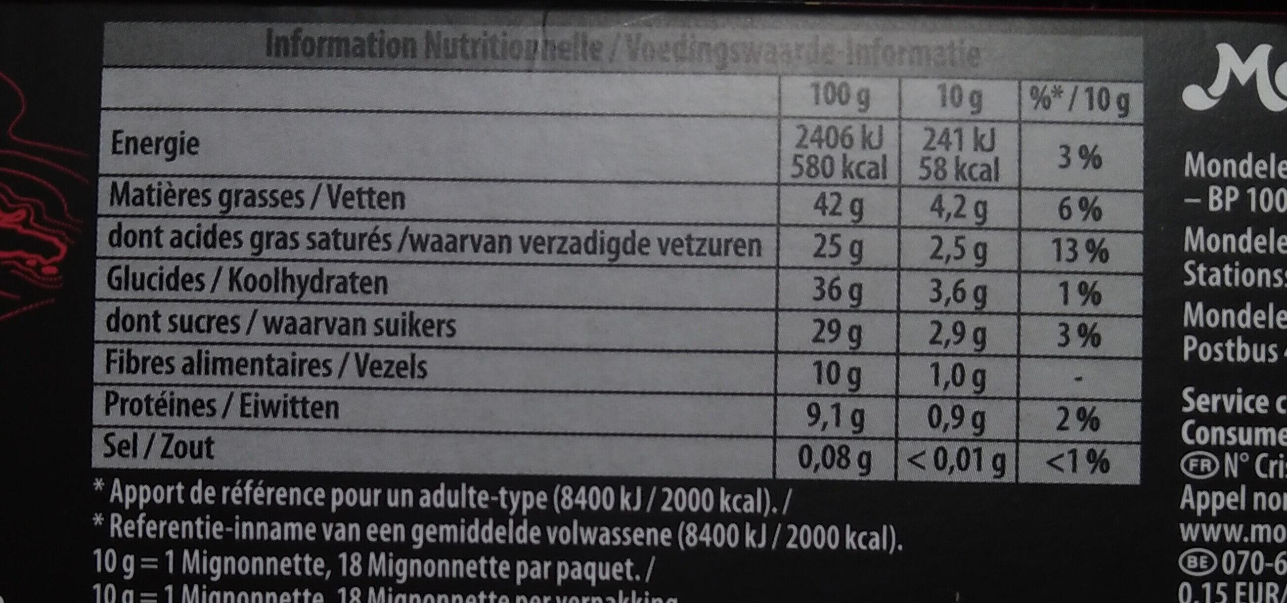 Mignonnette noir 70% - Voedingswaarden - fr