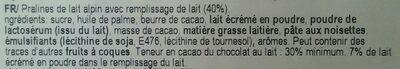 Ilm Alpine Milk Cream Pralines - Ingredients