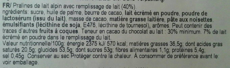 Ilm Alpine Milk Cream Pralines - Nutrition facts