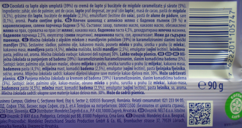 Milka Cremă cu migdale caramelizate - Ingrédients - ro
