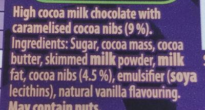 Darkmilk Crunchy Cocoa Pieces Bar - Ingrédients - en