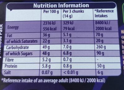 Darkmilk Crunchy Cocoa Pieces Bar - Informations nutritionnelles - en