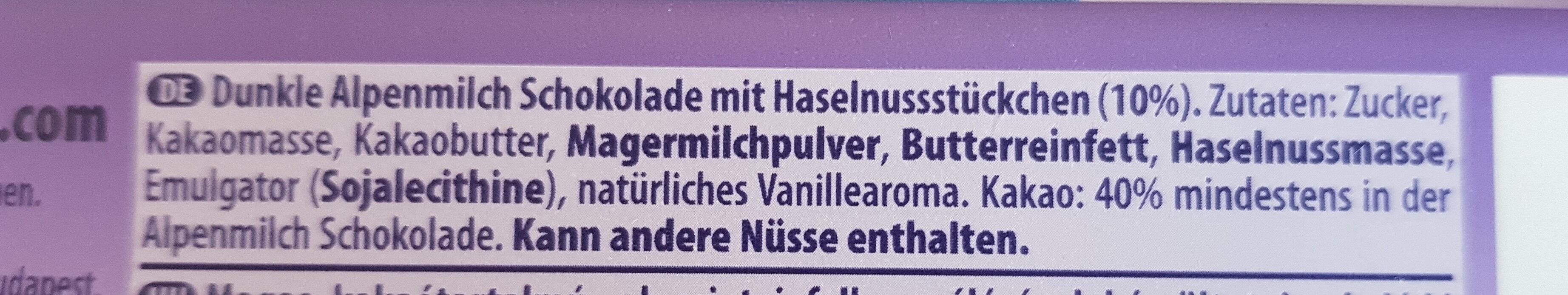 Darkmilk Haselnuss - Zutaten - de