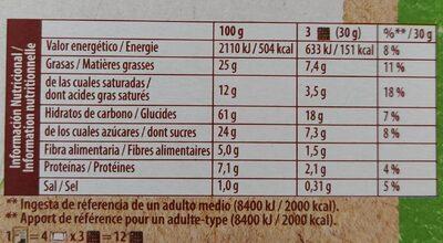 Le NAPPÉ chocolat noir - Informations nutritionnelles - fr