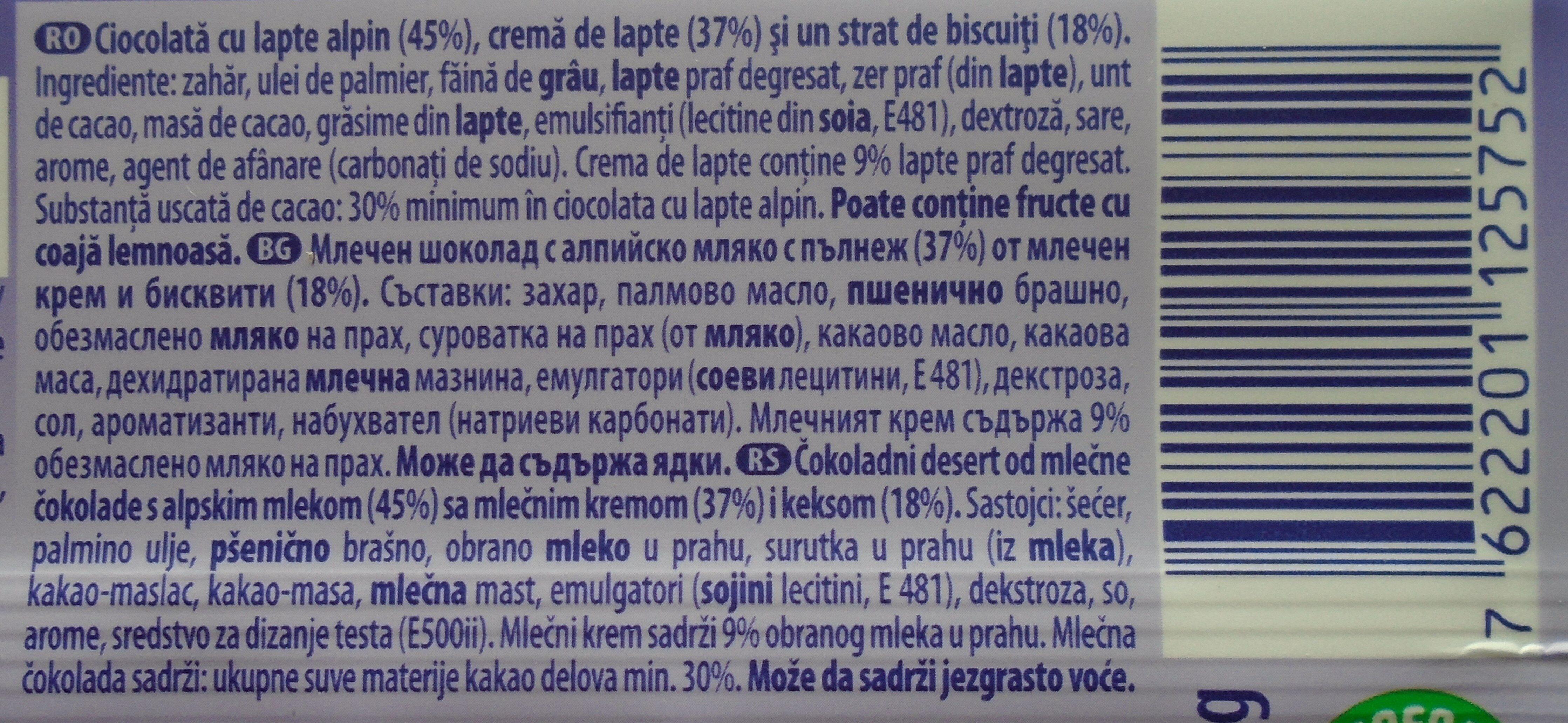 Milka Cremă și biscuit - Ingrédients - ro