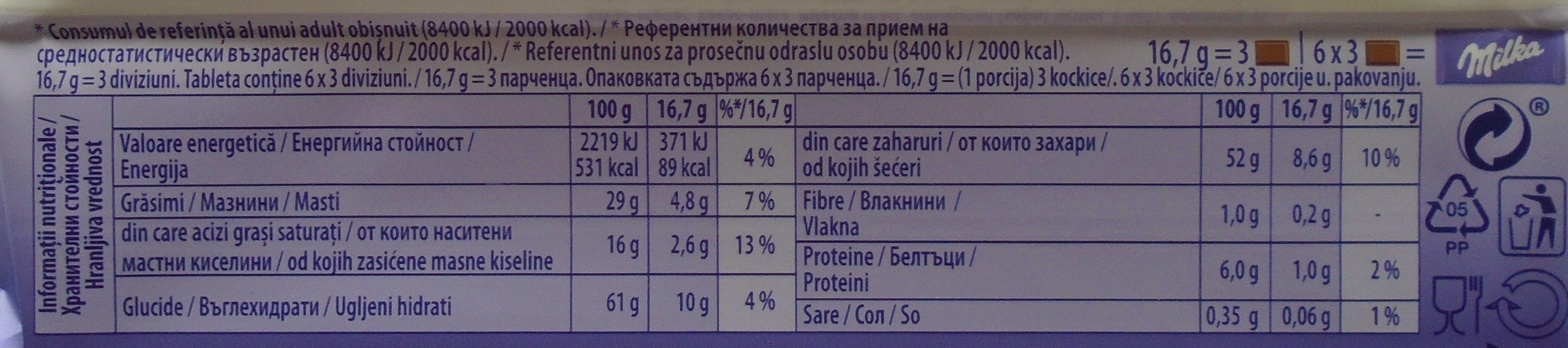 Milka Cremă și biscuit - Informations nutritionnelles - ro