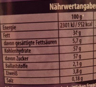 Milka Haselnusscreme - حقائق غذائية - de
