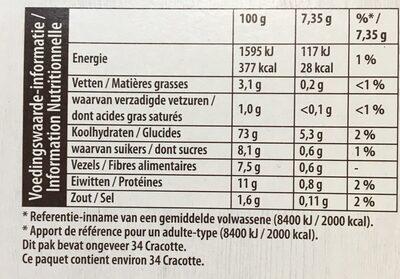 LU Cracotte Céréale complete 98% céréales - Valori nutrizionali - fr