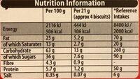 Bournville Fingers - Nutrition facts - en
