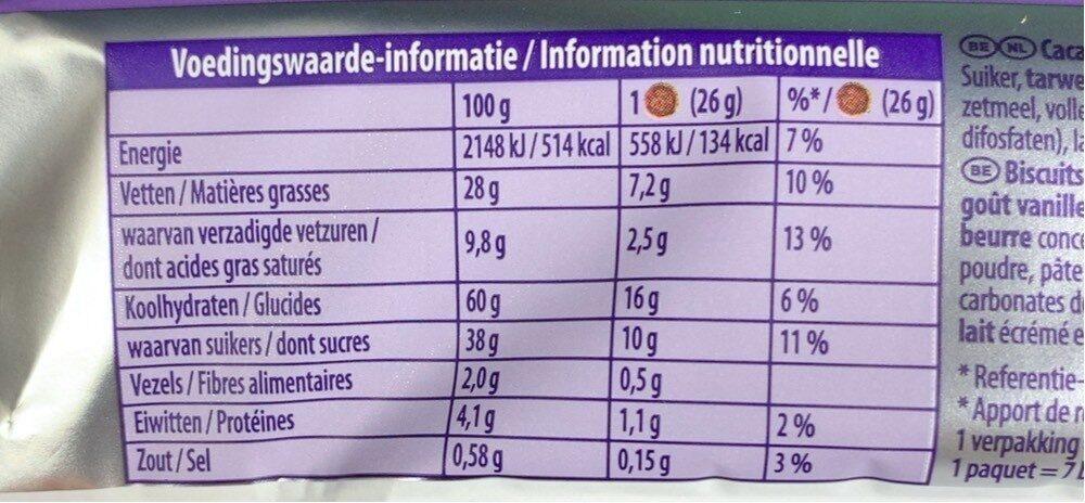 Cookie sensation oreo filling - Voedingswaarden - fr