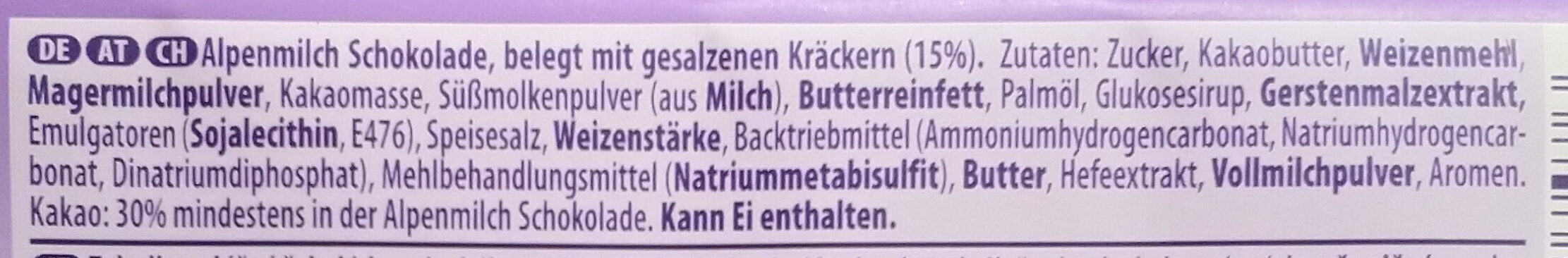 Alpenmilch Schokolade & TUC Cracker - Ingrédients - de