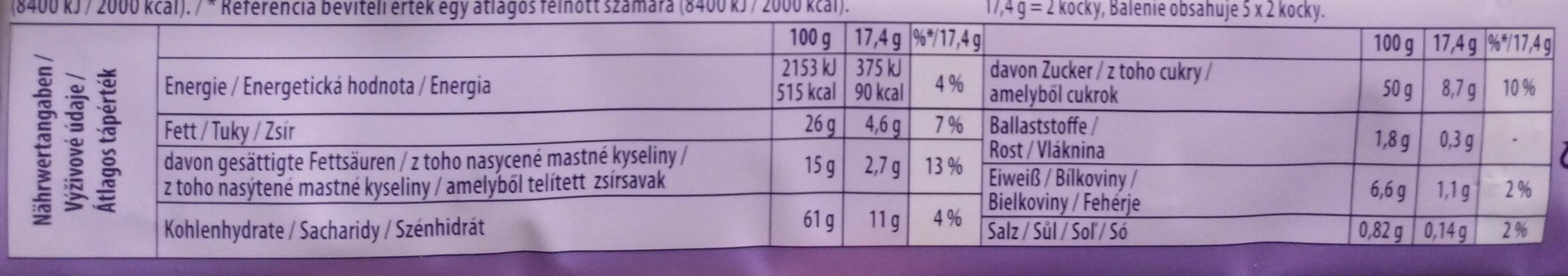 Alpenmilch Schokolade & TUC Cracker - Informazioni nutrizionali - de