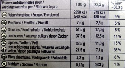 Leo chocolicious - Nutrition facts - fr