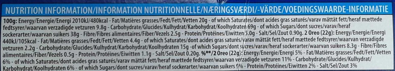 Oreo cookies vanilla - Voedingswaarden