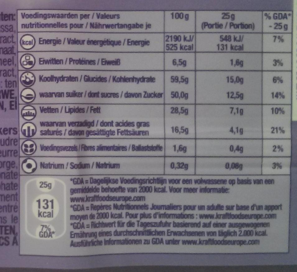 milka avec tuc - Informations nutritionnelles