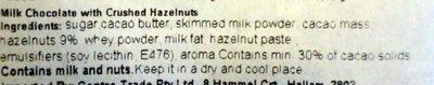 Milka Hazelnut - Ingredients