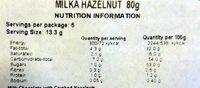 Milka Hazelnut - Nutrition facts