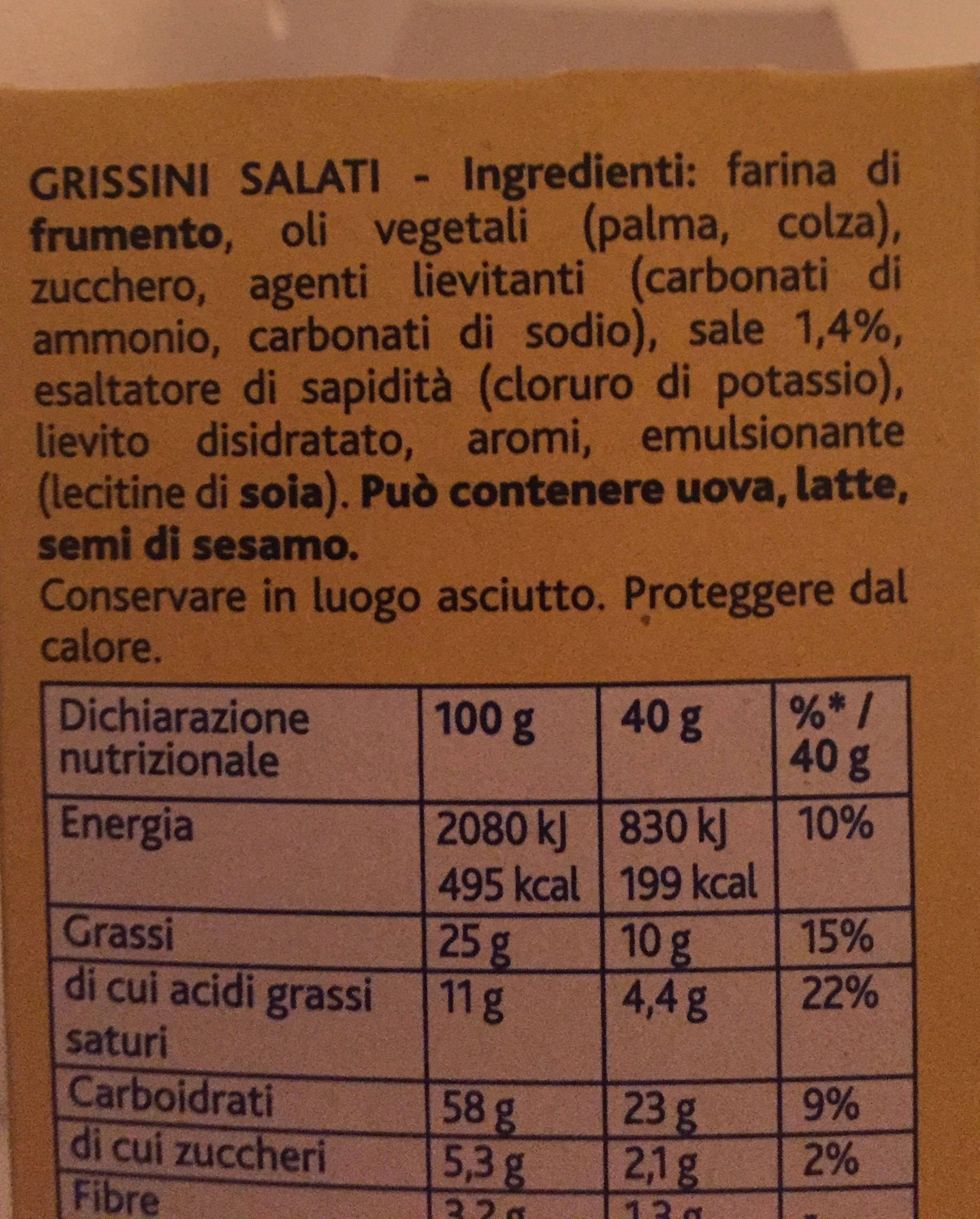 Tuc Stick Grissini Portabili E Gustosi 40g - Ingredienti
