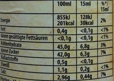 Dark Beer BBQ Sauce Dunkelbier - Nährwertangaben