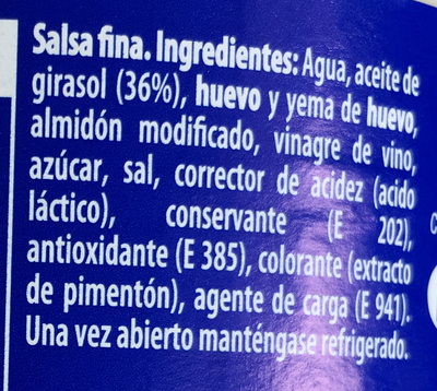 Mayonnesa Sabor Tradicional - Ingredients - es