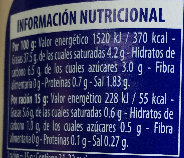 Mayonnesa Sabor Tradicional - Informació nutricional - es