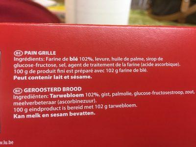 Pain grillé - Ingrédients - fr