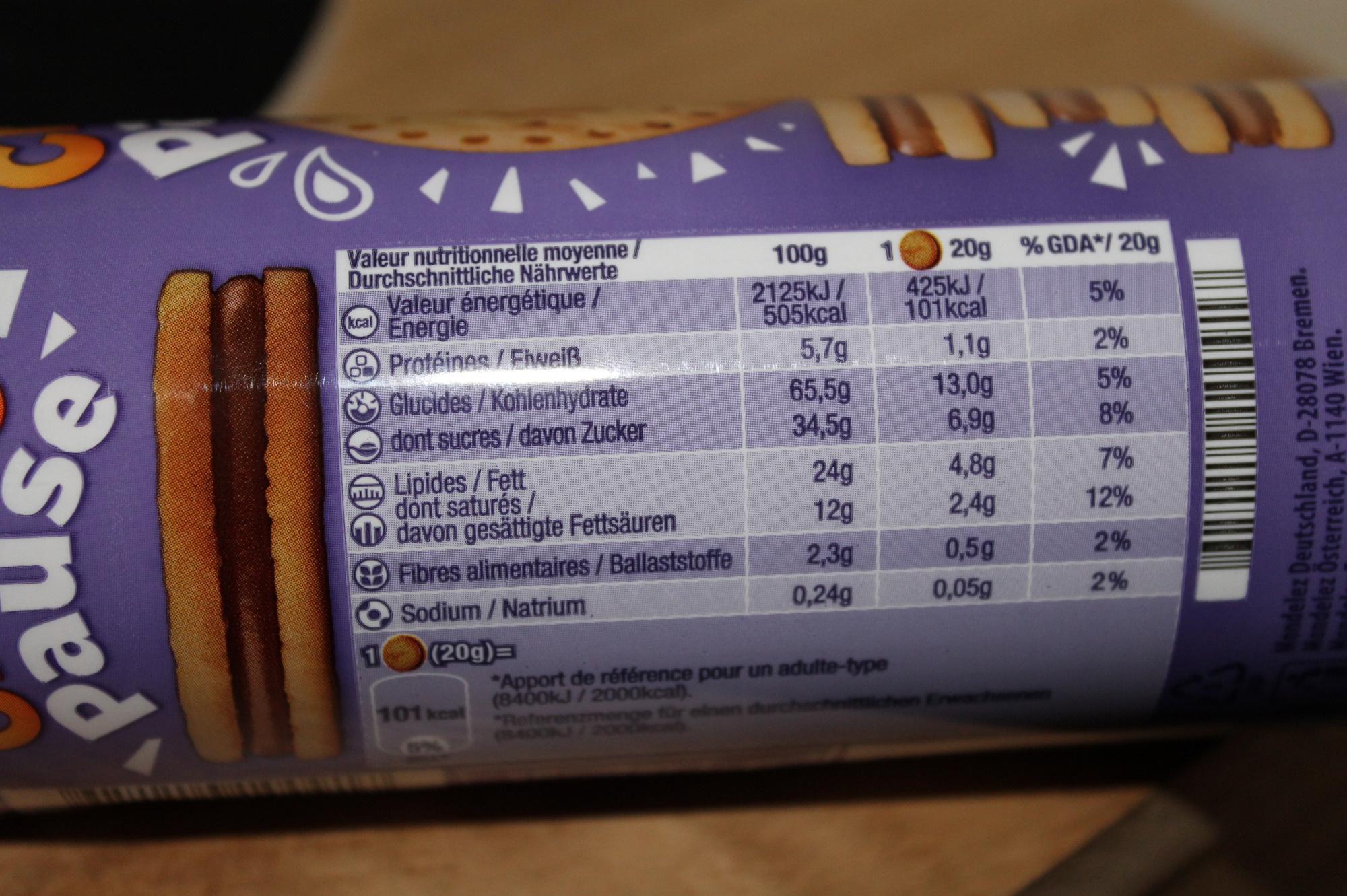 Choco Pause - Nährwertangaben