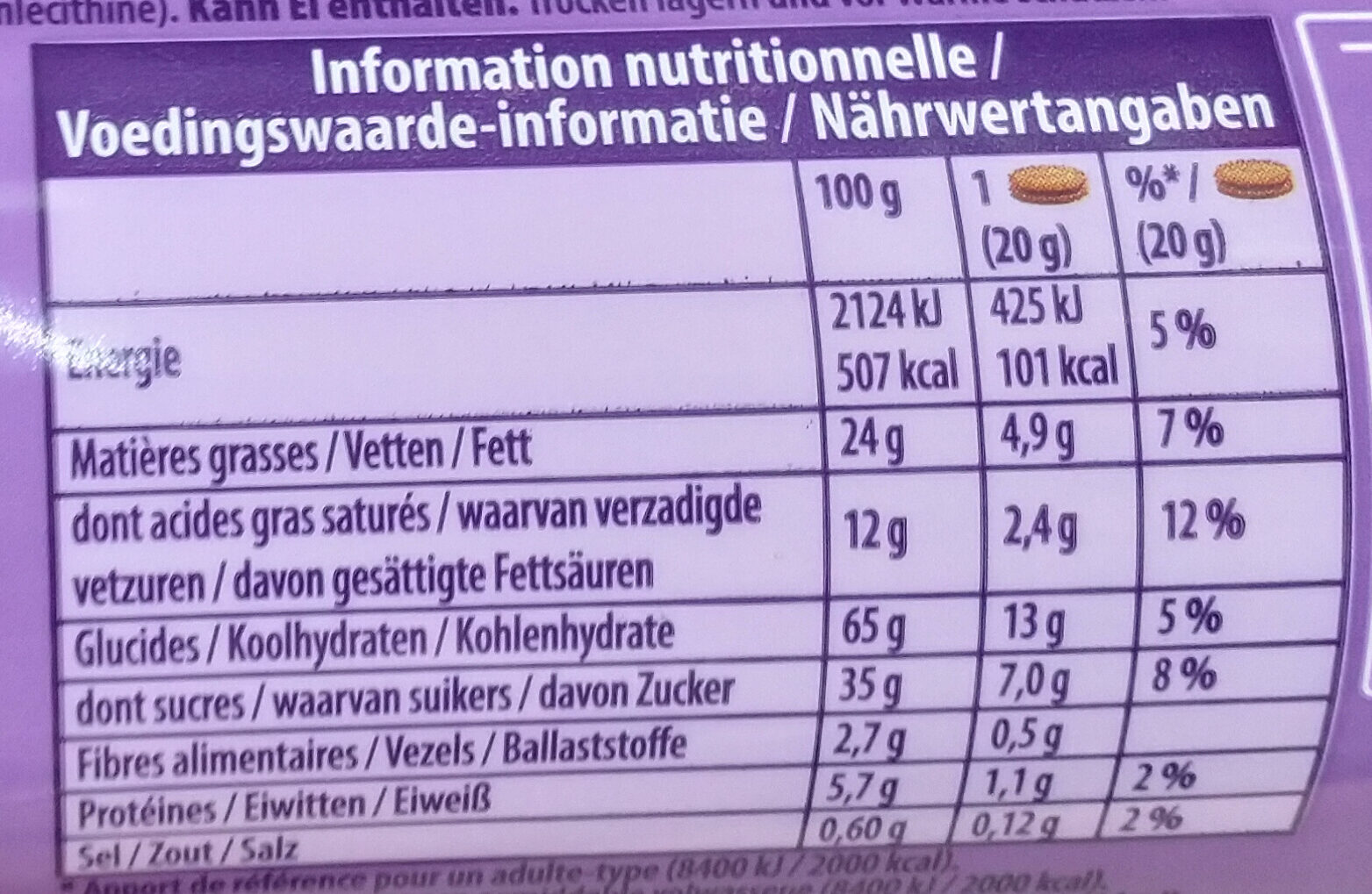 Choco Pause - Informations nutritionnelles - fr