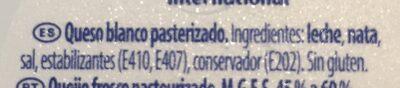 Queso Philadelphia Light - Ingredients