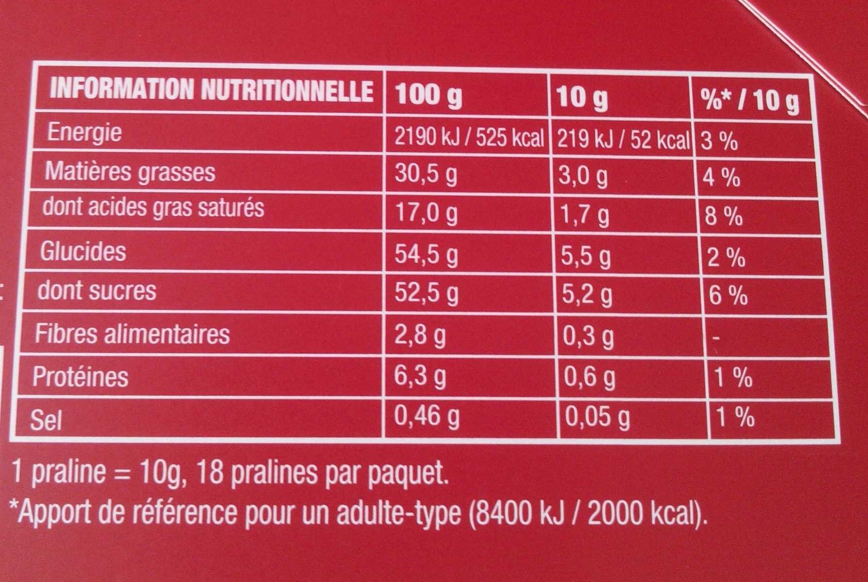 Coeur fondant caramel - Informations nutritionnelles - fr