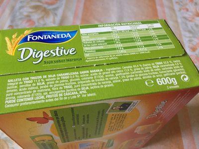 Galletas Digestive Soja y Naranja - Ingrédients