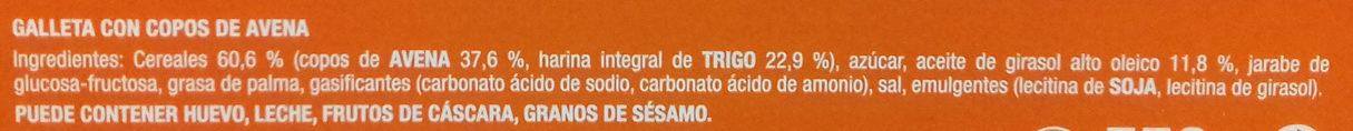 Galletas Digestive Avena - Ingredients