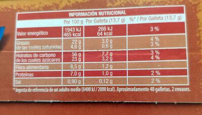Digestive Avena - Informations nutritionnelles - es