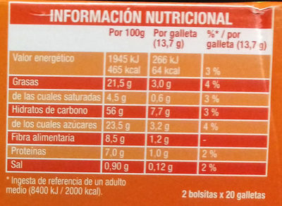 Galletas Digestive Avena - Nutrition facts