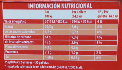 Galletas Digestive - Nutrition facts