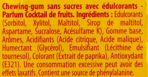 7 chewing-gums parfum cocktail de fruits - Ingrédients - fr